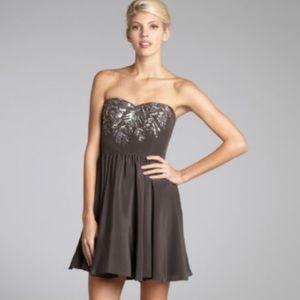 Rebecca Taylor Smoke Silk Beaded Dress